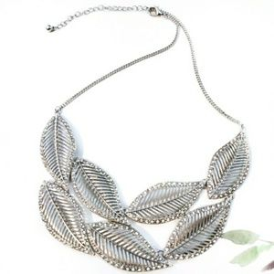 Jewelry - Silver Leaves & Crystal Bib Necklace